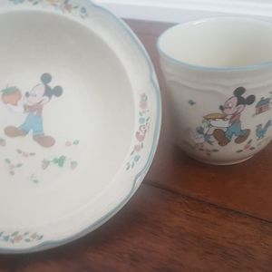Mickey mouse glass cup and bowl set